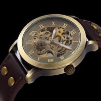 al por mayor los hombres antiguos relojes mecánicos-Venta al por mayor a 2015 del cuero de la manera de la antigüedad de la vendimia del esqueleto de bronce del reloj de los hombres mecánicos automáticos del reloj de pulsera Marca Shenhua
