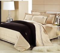 Cheap Wholesale-Wholesale of 100% cotton beige bedding set cotton duvet cover flat sheet pillowcase bed linen quilt cover suite(WDN201)
