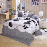 Wholesale cotton cartoon bed linen minny mickey mouse bedding set doona duvet cover flat sheet pillow case sham king size kids bed