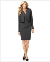 Cheap Wholesale-Womens Clothes Women Dresses Tailor Cusotm Women Suit Long Sleeve Collarless Jacket & Belted Sheath Dress 709
