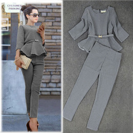 Wholesale-New 2015 Spring Fashion Women's Business Pants Suits Houndstooth Checker Pattern Ruffles Coat Suits For Women!Free Shipping!
