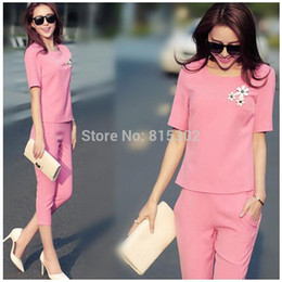 Wholesale-2015 summer twinset set ladies plus size office ladies formal cotton soft suits female work wear free shipping