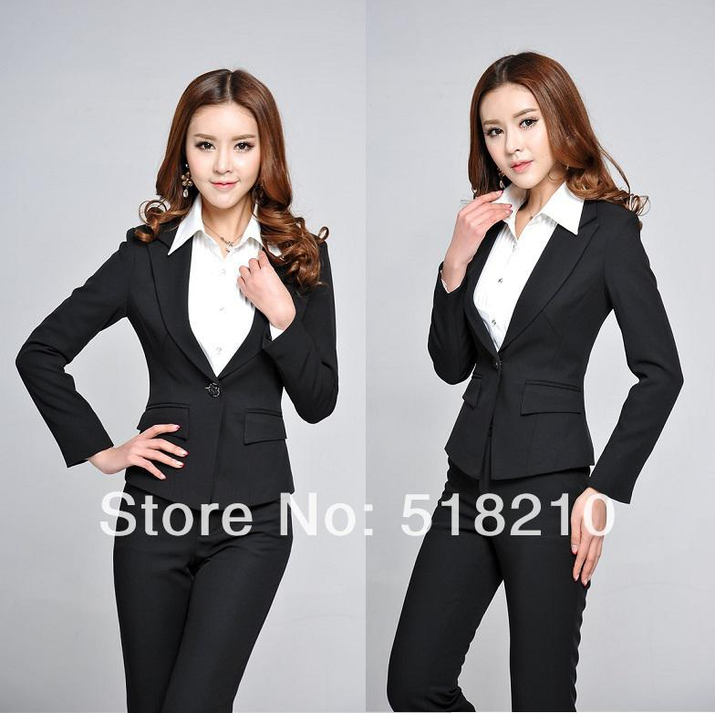 Wholesale-New 2015 Spring Autumn Formal Black Blazers Career Suits Women Slim Elegant Pants Suits Ladies Office Suits for Work Wear Sets