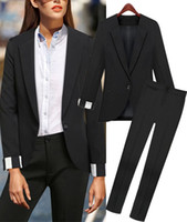 Cheap Wholesale-2015 Fashion Spring women business suits formal office suits work with pants trouser Black Blazer XXL Autumn Clothing work wear