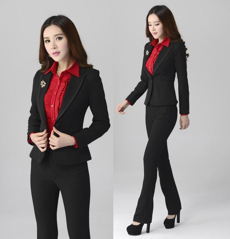 2017 Wholesale New 2015 Autumn Winter Ladies Pants Suits For Women ...