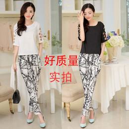 Wholesale-2015 spring and summer fashion women's cutout sleeve top splash-ink print skinny pants set