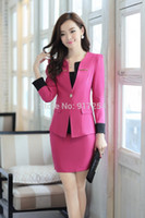 Wholesale New Style Women s Fall Business Suits Professional Clothes Work Sets Autumn Winter Formal Blazers Office Skirt Sets Size S XL