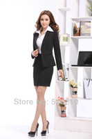 Cheap Wholesale-2015 Newest Formal Women Suits with Skirt for Office Ladies Business Suits Professional Work Wear Sets Black Plus Size S-XXXL