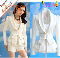 Cheap Wholesale-New For White Blazer big bowknot cultivate one's morality long sleeve Blazers suit tailored suit wholesale small suit women