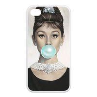 al por mayor iphone 4s caso audrey-Envío al por mayor-libre de Audrey Hepburn azul del chicle de plástico duro durable personalizada para el iPhone 4 / 4s 5 / 5C 5s 6 (4,7