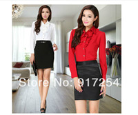 career suits for women - Free shippping New Autumn Winter fashion OL slim elegant Long Sleeve career suits for women business wear Shirt Skirt