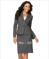 Cheap Wholesale-Suits Women Clothing Clothing Stores Grey With Narrow Stripes Welt Pockets Jacket & Pencil Skirt 707