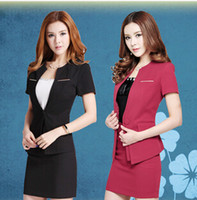 Cheap Wholesale-2015 Elegant New OL Office Ladies Career Business Women Suits with Skirt Women Skirts Suits Sets Female Work Wear Red Black XXXL