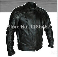 Wholesale HOT PU mandarin collar Men s Black Solid Leather Motorcycle Biker Jacket Sizes S To XXL all size available