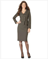 Cheap Wholesale-Womens Clothes Women Apparel Tailor Suit Long Sleeve Double Breasted Notched Portrait Collar Jacket & Pencil Skirt 703