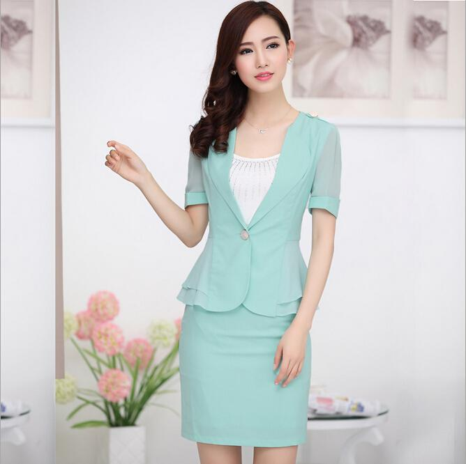 Wholesale-Fashion New 2015 Business Women Skirt Suits Summer Plus ...