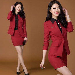 Wholesale Spring Formal Women Skirt Suits Sets Red Black Coat Skirt Blazer Female Office Uniform Style Ladies Business Suit Work Wear