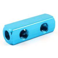 Wholesale 1 Inch PT Dodger Blue Aluminum Way Cuboid Shape Air Inline Manifold Block