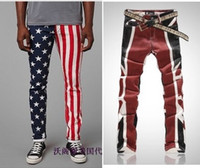skinny jeans for men - mens designer skinny jeans high quality Personality flower pants American and British flag jeans for men plus size