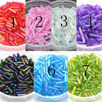 Cheap Wholesale-Free Shipping!! 2*6MM 60G 1440Pcs Colorful Czech Glass Seed Bugle Beads Jewelry Accessories