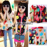 Wholesale Kids Girls Chiffon Shirt Girls baby clothes colored circles Korean new models girls summer chiffon blouse shirt Q09286