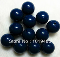 navy acrylic beads 20mm - Dark navy color MM Big Chunky Gumball Bubblegum Acrylic Solid Beads Colorful Chunky Beads for Necklace Jewelry B30