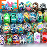 big bad beads - No bad smelling Mixed Ball European Polymer Clay Loose Big Hole Beads Handpainted Bracelet jewelry making100pcs
