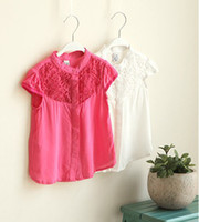 Cheap Wholesale-2015 New Girls baby Chest jacquard Temperament Short sleeve shirt Tops wholesale
