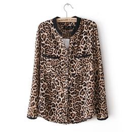 Hot Sale 2016 New Fashion Women Star Print Leopard Print Chiffon Blouse PLUS SIZE Y3461