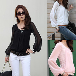 Wholesale-East Knitting Women chiffon long-sleeve collar Shirts 2015 fashion womans blouses top sale J0120