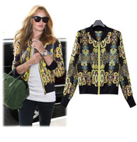baroque print blouse - New Dynasty Fashion Vintage Print Chiffon Zipper Slim Short Jacket Baroque Style Print Summer Blouses in Stock