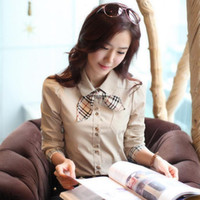Wholesale Korean New Fashion Lady Career Blouse Size S XL Long sleeve Charm Office Lady Formal Style Women Shirt