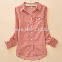Cheap Wholesale-Polka Dot Cotton Body Crochet Women Blouses Shirts Female Clothing Ladies Work Wear Camisa Blusas Femininas Blusa De Renda Tops