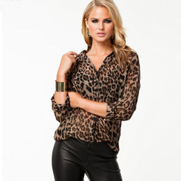 Wholesale-Plus Size XXXL New 2015 Fashion Sexy Shirt Women Blouses Novelty Leopard Print Blouse Long Sleeve Chiffon Shirts Brand Blouses