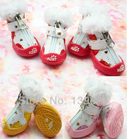 shoes for dogs - dog shoes pet shoes for dogs and cats autumn and winter snow boots Red Yellow Pink