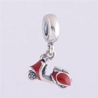 motorcycle charms - S925 Sterling Silver Red Enamel Charm Bead Fashion Motorcycle Dangle Thread Hole Bead Fits Pandora Bracelet DIY Making LW258