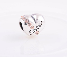 New Love Heart Alphabet Sister Charms Pink Crystal 925 Sterling Silver Suitable for Pandora Style Charm Bracelets & Necklaces