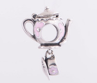 enamel teapot - New Teapot with cup enamel charms fits sterling silver love bracelet charms Suitable for Pandora Style Charm Bracelets