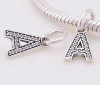 Wholesale Newest Sterling Silver Bead Letter A Dangle Women Charm Suitable for Pandora Style Charm Bracelets Necklaces