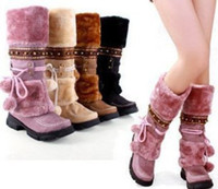 beaded wedge shoes - Fashion Half Over Knee High Snow Boots For Women Platforms shoes beaded Furry Warm Winter Boots size