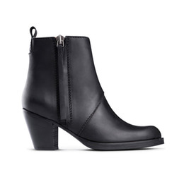Wholesale ACNE pistol style genuine leather winter and summer high heel martin black female motorcycle ankle boots shoes for women