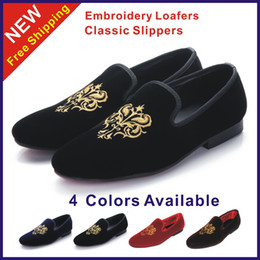 Embroidery flat shoes à vendre-Wholesale-Size 38-45 New 2015 Fashion Men's Flats Vintage Men Loafers Classic Velvet Broderie Chaussures Man Slippers Brand Black Party