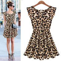 Casual Dresses women dress drop ship - New Chic Sexy Sundress Women Leopard Pleated Ruffle Vest Mini Dress Sleeveless and Drop Shipping