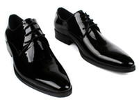 Cheap Wholesale-2015 spring new men's oxfords shoes high quality patent leather italian dress shoes pointed toe 2 color size:6.5-11 OX218