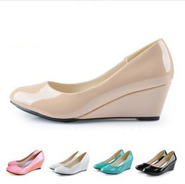 Wholesale wedges black pink blue m women ankle round head paint documentary shoes work shoes nude slope with single shoes