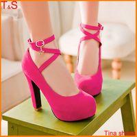 Wholesale Plus Size women fashion sexy high heel pumps ankle strap square heel platform with buckle shoes Q903