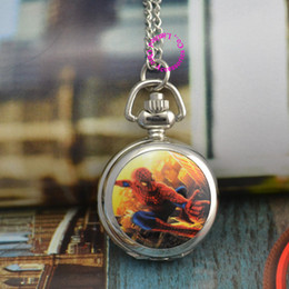 Wholesale Spider Woman Hot - Wholesale-hot spider man pocket watch necklace long chain wholesale buyer price good quality fashion lady girl woman children hour
