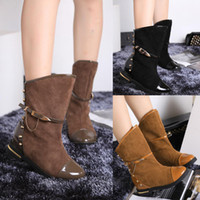 cowboy boots for women - Women Motorcycle Boots Spike Poited Toe Chain Cowboy Boots For Women Faux Suede Fashion Women s Autumn Boots Casual Ladies