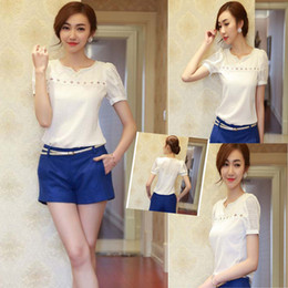 Wholesale Fashion PC Women Tops Lace Short Sleeve blusas V Neck Doll Chiffon Blouse Top Size S XL Blusas Femininas Anne