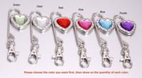 purse hanger wholesale - DHL EMS Charm Heart Crystal Steel Purse Hook Bag hanger Key Finder